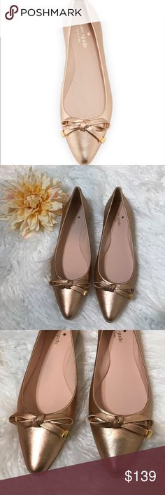 "Kate Spade New York Emma Bow Ballerina Flat kate spade new york metallic napa leather ballerina flat. 0.3"" flat stacked heel. Pointed toe with bow. Slip-on style. Smooth sole. ""emma"" is made in Brazil. NWOT kate spade Shoes Flats & Loafers"