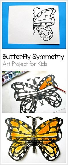 Butterfly Symmetry Art Project for Kids using glue resist and watercolors- fun combo of math and art! ~ BuggyandBuddy.com