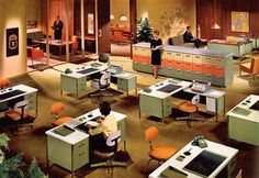 For an early 70s secretarial pool, that's actually a pretty happening office space. I bet they were the first in town to get the new IBM Selectrics.