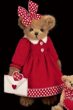 Vanessa Valentine Bear is so pretty dressed up in her red dress with matching bow. She is fourteen inches tall and ready to deliver your gift card -- 2 in. by 3 3/8 in. -- in the attached white cloth