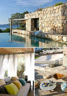 Mediterranean summer house on Corsica Outdoor Spaces, Outdoor Living, Stone Houses, Corsica, Cool Pools, Bungalows, My Dream Home, Exterior Design, Future House