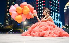 Beautiful Pink Girl with Colorful Heart Balloons...  http://www.chokus.com/image/570:beautiful-pink-girl-with-colorful-heart-balloons-love-mood