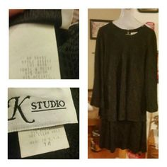 Gorgeous Sleek Black Dress SZ 14 Rayon/Acetate Combined Material....Dress has look of snakeskin. .see pics for details K Srudio Dresses