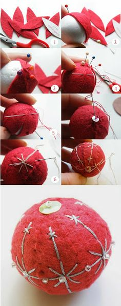 Felt Bauble, using a polystyrene ball, felt, and embroidery