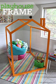 make an indoor playhouse frame for the kids for just $20 and drape a sheet over it for extra fun!