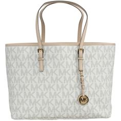 Michael Michael Kors Vanilla Jet Set Travel Medium Multifunction Tote ($280) ❤ liked on Polyvore featuring bags, handbags, tote bags, leather tote, monogrammed tote bags, white handbags, travel tote bags and leather handbags