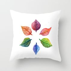 Leaves Throw Pillow by paolavazquez Watercolor Print, Watercolor Paintings, Autumn, Fall, Collage Art, Aqua, Leaves, Colorful, Throw Pillows