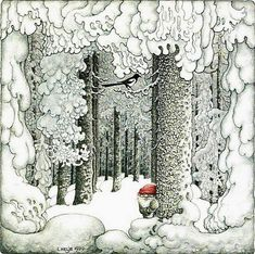 Benji Gnome will add frosty burdock seeds to the decor. - (illustration by Swedish artist Lennart Helje) Swedish Christmas, Scandinavian Christmas, Christmas Art, Theme Noel, Children's Book Illustration, Illustrators, Folk Art, Fantasy Art, Fairy Tales