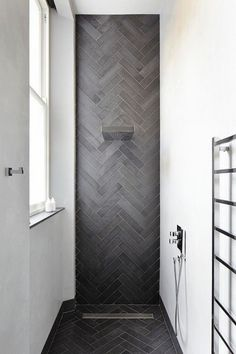 Bath room tiles herringbone floor 65 new Ideas Shower Floor Tile, Bathroom Floor Tiles, Bathroom Black, Shower Bathroom, Bathroom Cabinets, Bathroom Wall, Brick Bathroom, Houzz Bathroom, Ceramic Tile Bathrooms