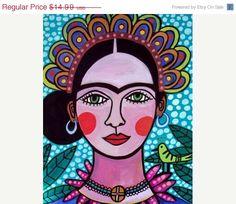 SALE  11x14 Mexican Folk Art  Frida Kahlo Art by HeatherGallerArt, $13.49