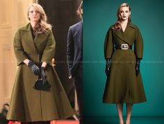 Adaline Bowman (Blake Lively) wears this green oversized double breasted coat in the movie The Age of Adaline. It is the Gucci Pre-Fall Sold Out. 1950s Fashion, Boho Fashion, Autumn Fashion, Vintage Fashion, Womens Fashion, Fashion Design, Age Of Adaline, Oversized Coat, Green Coat