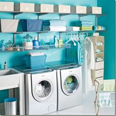 I love it!! Clothes rack to hang clothes, storage bins, rack for cleaning supplies, sink, and neatly organized!