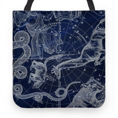 Constellation Blue and White Tote | HUMAN | T-Shirts, Tanks, Sweatshirts and Hoodies