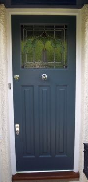 front door - make lower paneling without trim - more square ...