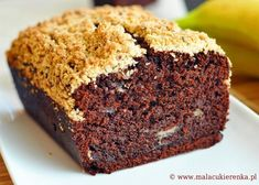 chocolate cake with banana I Foods, Chocolate Cake, Banana Bread, Muffin, Food And Drink, Sweets, Breakfast, Desserts, Recipes