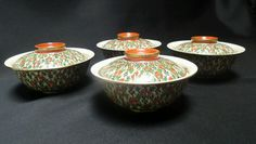"""Antique Chinese Wucai Qing Dynasty 6"""" Serving bowls Set x4 Benjarong export Chinese Wucai designed for // Export to the Thai market. Dating to Qing Dynasty period (1800s to 1850)."""