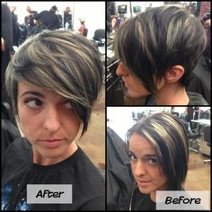 Refreshed mint green highlight & pixie cut! Before and after.