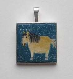 DICKES PONY von Herbivore11 Inchie Anhänger Unikat Minibild Pferd kleine Kunst