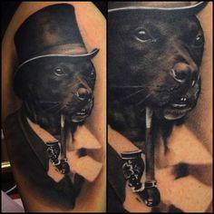 Maria at King Carlos Tattoos tattooed this dapper doggy. #InkedMagazine #classy #fancy #dog #tattoo #tattoos #Inked #ink #art