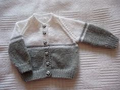 Grey and white baby cardigan no pattern just a suggestion for changing colours, . : Grey and white baby cardigan no pattern just a suggestion for changing colours,