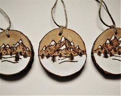 Set of 3 Wood burning Christmas Ornaments Mountain Peaks