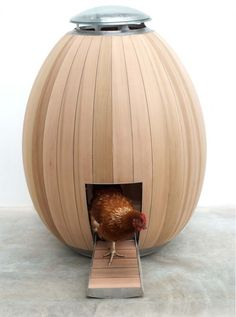 The Nogg is a modern chicken coop that has been designed in the shape of an egg. Urban chicken keeping has become a growing trend, and The Nogg is designed to house 2-4 chickens in an aesthetically pleasing coop to compliment any garden.