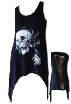 Banned - Black Skull top with Cut out back (a favourite gothic punk clothes repin of VIP Fashion Australia )