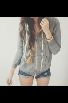 Shorts with zip up hoodie jumper. Casual wear