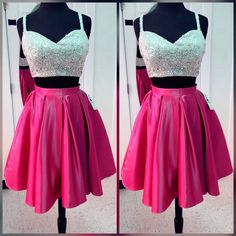 Charming Prom Dress,Two Piece Prom Gown,Spaghetti Straps Prom