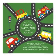 Cute Car Roadway Boys Baby Shower Invitation - shower gifts diy customize creative
