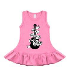 Mommy Rocks Guitar Tattoo Bubblegum Pink Sleeveless Dress by My Baby Rocks - Punk Baby Clothing