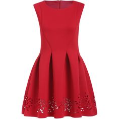 Red Round Neck Hollow Carving Flare Dress (1,695 INR) ❤ liked on Polyvore featuring dresses, red, vestido, red sleeveless dress, red dress, shift dress, flared sleeve dress and red knee length dress