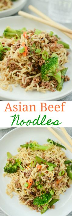 Asian Beef Noodles - easy 30 minute dinner using ground beef, ramen noodles, and frozen stir fry vegetables! This is a kid and adult favorite! Pork Recipes For Dinner, Italian Dinner Recipes, Lunch Recipes, Asian Recipes, Beef Recipes, Yummy Recipes, Yummy Food, Hamburger Recipes, Delicious Meals