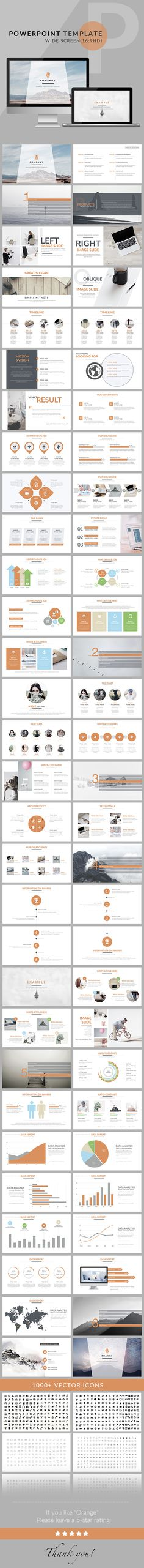 Orange - Clean trend business PowerPoint Template. Download here: graphicriver.net/...