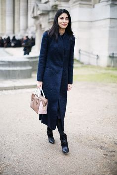 Gorgeous ankle-length coat and perfect black leather booties