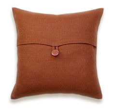Burnt Orange Textured Linen Throw Pillow Cover by DelindaBoutique