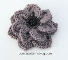 Crocodile Stitch Free Crochet Flower Pattern                                                                                                                                                     More