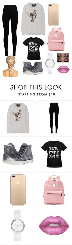 """❤"" by robyn-smisson ❤ liked on Polyvore featuring Markus Lupfer, Wolford, Converse, DKNY and Lime Crime"