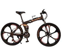 Rockefeller G4 Black 17 Inch 21 Gears Folding Bike Disc Brakes Full Suspension Soft Tail - http://www.bicyclestoredirect.com/rockefeller-g4-black-17-inch-21-gears-folding-bike-disc-brakes-full-suspension-soft-tail/