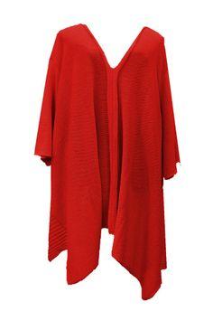 AKH Fashion Lagenlook langer weiter Strick Pullover in rot große Größen bei www.modeolymp.lafeo.de