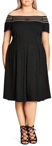 080c3e09714 Plus Size Women s City Chic Shadow Stripe Off The Shoulder Dress Chic  Shadow