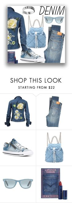 """""""denim"""" by starestrada ❤ liked on Polyvore featuring Citizens of Humanity, Diesel, Salvatore Ferragamo, Ray-Ban, Lipstick Queen, Bling Jewelry and denim"""
