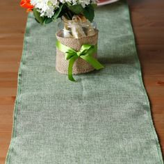 12x108 Colorful Imitation Burlap Table Runner by LingsWedding