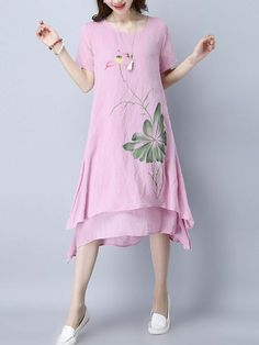 Asymmetric Hem Printed Double Layer Shift Dress
