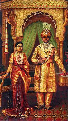 Maharaja Krishnaraja Wadiyar IV and his wife, painted by Raja Ravi Varma