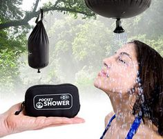 Pocket Shower- $25 This fabulous product provides an 8-minute shower anywhere you are (includes 20-foot cord for hanging). The waterproof fabric attracts heat, which creates warm water. Ideal if seeking useful outdoor gifts.