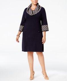Jessica Howard Plus Size Geo-Contrast Sweater Dress