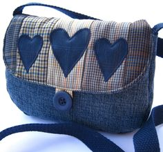 Denim patchwork shoulder bag small от DaisyPatchUK на Etsy