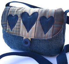 Denim patchwork shoulder bag (small)