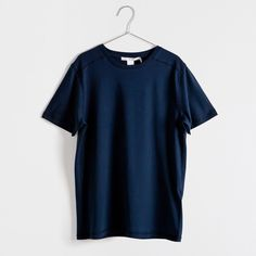 Zara Home Short-Sleeved Cotton T-Shirt ($13) ❤ liked on Polyvore featuring tops, t-shirts, navy blue, navy blue tee, cotton tee, short sleeve tees, cotton t shirts and navy t shirt